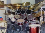 My Drivers Seat ...   Eight Toms, 7000 D-W Double Bass Pedal, 19 Cymbals, Three Roto Toms, Two Conga's And Effects.