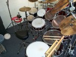 My Drivers Seat ... What A Blast !  Eight Toms, D-W Double Bass Pedal, 16 Cymbals, Three Roto Toms, And Effects.
