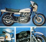 My Original Brochure For The 1979 GS1000-S Wes Cooley Bike.  This Is The Write Up On The Brochure.  With only 535 produced the GS1000-S was also known as the Wes Cooley replica. The GS series worked well on the track, too, Wes Cooley and Yoshimura winning the young AMA Superbike Championship for Suzuki in 1978. Even the replica, GS1000-S was a very fast bike, being one of the abslote fastest motorcycles in the world. In today's standards, the model was a suicide machine with poor high speed stability but back in 1979 it handled as well as its competitors.  The beautiful racer replica was manufactured under two years, 1980 being the last model year for the GS1000-S. Then the GSX1100-S Katana took its place being the fastest and sporties Suzuki motorcycle.